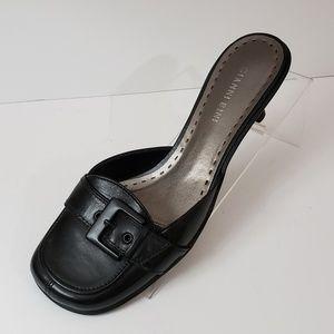 Gianni Bini Mules Black Leather Slip On 8.5M